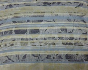 Blue and beige linen and cotton stripe fabric