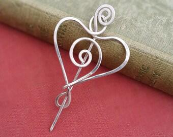 Little Spiral Heart Sterling Silver Shawl Pin Knitter Gift Scarf Pin, Silver Heart Pin Sweater Brooch, Fastener Wrap Closure, Crochet, Women