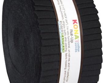 "Kona Cotton All Black JELLY ROLL from Robert Kaufman - 40 2.5""x44"" strips (2.8 yards) - RU-196-40"