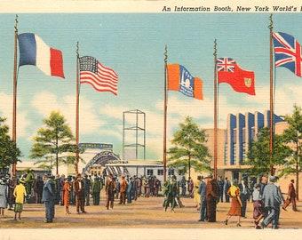 "New York World's Fair 1939 linen postcard ""An Information Booth""        (unused)"