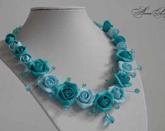 SALE 10% Polymer clay jewelry. Handmade polymer clay flower necklace