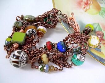 Boho Chic Bracelet Six Copper Strands Ethnic Beads and Gemstones Turquoise