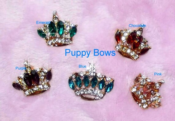 """Puppy Bows ~ CLEARANCE SALE  TINY 1"""" rhinestone crystal crown dog bow  pet hair clip topknot barrette 8 colors!!"""