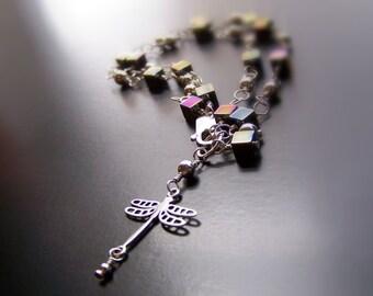 Sterling Silver Dragonfly Bracelet - Sterling Silver and Pyrite Bracelet  - Cube Bracelet - Dangle Bracelet