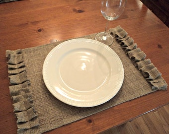 French Farmhouse to Coastal Chic Style Burlap Placemats