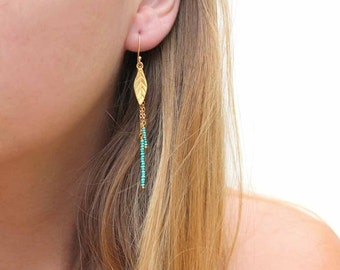 Turquoise Leaf Earrings. Bohemian Beaded Drop Earrings. Gold fill or Sterling Silver. Nature Jewelry. E-1762