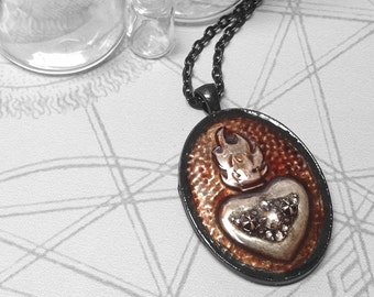 Plum Jewelled Sacred Heart : hand embossed repoussé metal pendant necklace