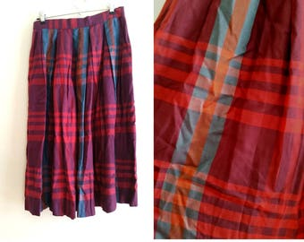1970s schoolgirl skirt pleated skirt 70s plaid skirt vintage plaid skirt orange purple and green, midi skirt medium/ large, modest skirt