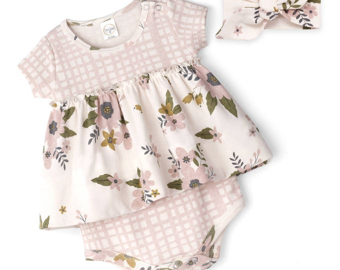 SPRING SALE! Baby Girl Dress Outfit, Baby Onesie Bodysuit Dress, Newborn Girl Outfit, Baby Skirted Romper Pink Floral, Baby Skirted Romper