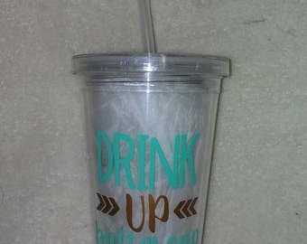 Drink up butter cup tumbler /straw