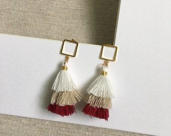 Onliest 18K gold filled geometric tassel ombre dangle earrings drop earrings handmade earrings handcrafted earrings