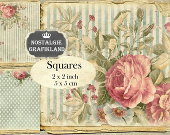 Shabby Chic Background printable digital Squares 2x2 inch squares Instant Download digital collage sheet TW132