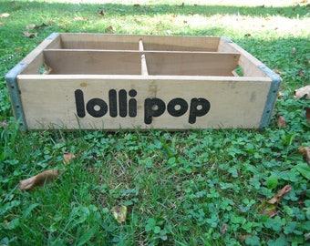 Rare Vintage Lollipop Wooden Soda Crate - Divided