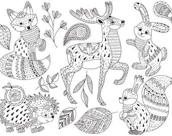 Tribal Animals Clip Art - Vector Animals Clipart, Tribal Clipart, Woodland Clipart, Mandala Clipart, Doodle Animals Clip Art