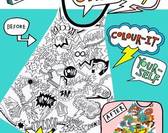 NEW!!! Doodle-Kit ++ Colour-your-own superhero cape ++ DIY Kit