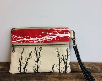 Casual Clutch - Double Zip Pouch - screen printed Pussy Willows - red and white