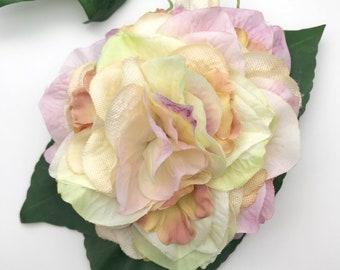Handmade Cream Pink Hydrangea & Blossom Hair Flower Clip / Corsage