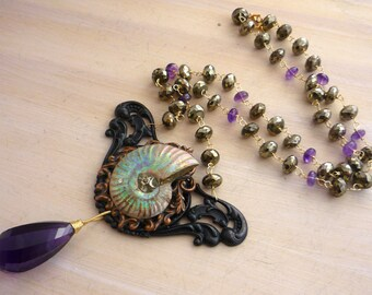 Ammonite & gemstone bead necklace. Statement necklace.