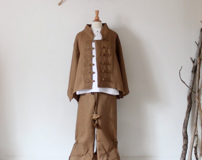 Ginger linen outfit three pieces handmade to measure petite to plus size