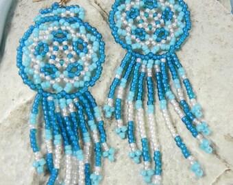Native American Blue Beaded Earrings