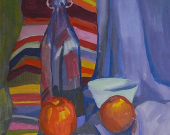 still life with a violet bottle
