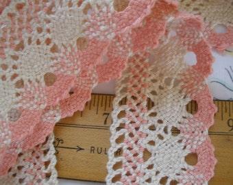 "Salmon Pink & Cream Crochet Lace Cotton Trim 1 3/4"" wide Antique white bobbin look cluny lace scalloped edge retro choose yardage"