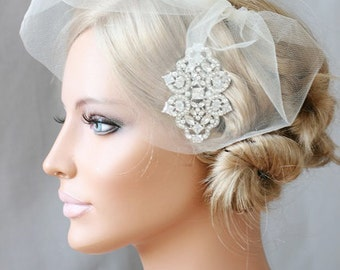 Bridal Mini Veil, Mini Tulle Veil, Birdcage Veil, Blusher, Bridal Tulle Veil - ALENA - Ready To Ship