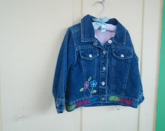 3 yr old girls jean jacket, with look like chalk paint