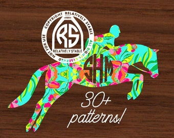 Lilly horse decal, Lilly  hunter jumper decal,  equestrian monogram
