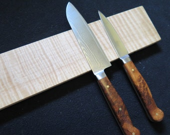 """8-18"""" Curly Maple magnetic knife holder, knife rack, with a deep figure inc. mounting hardware handmade, rare exotic wood"""