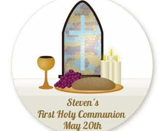 Communion Collage - Personalized Circle Round First Holy Communion Sticker Labels - Available in 8 Different Sizes - Custom Design