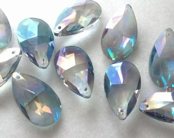 5 Grey AB Iridescent Teardrop Chandelier Crystals Shabby Chic 38mm