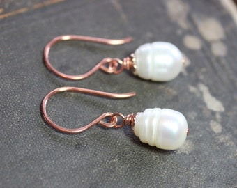 White Pearl Earrings Capped Copper Earrings Rustic Jewelry Pearl Earrings