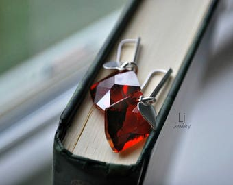 Earrings Swarovski Crystal Passions® Red Magma Faceted Cosmic Drops Silver Heart Letemendia Jewelry