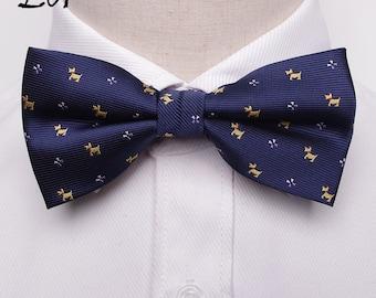 Navy-Dog Printed-Bow Tie- Neck Tie- Fashion-Formal-Business-Wedding