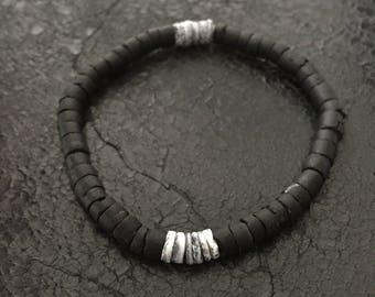 Bracelet black coconut + shell - DENDRO #2
