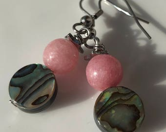 Beaded Gemstone Earrings / Abalone Earrings