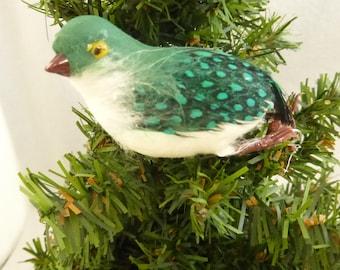 Vintage Small Dark Green and White Spun Cotton and Feather Bird NOS