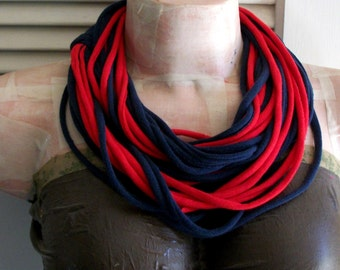 SALE Navy Blue & Red Infinity Multi Strand T shirt Jersey Scarf