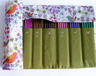 DPN Needle Case, Holds 2mm-8mm double pointed knitting needles. Hedgerow fabric.