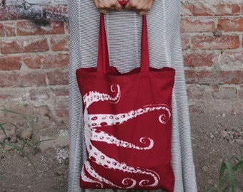 OCTOPUS Eco-Friendly Market Tote Bag - Hand Screen printed +Colors (Ships FREE!)
