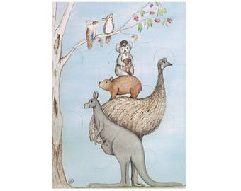 Australian Native Animal Stack Magnetic Jigsaw Puzzle (9 piece)
