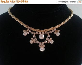 ON SALE Vintage Rhinestone Necklace Collectible Retro Collectible Costume Jewelry