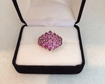 Stunning 925 Amethyst/ Violet Color Vermeil Cluster Sterling Silver Ring