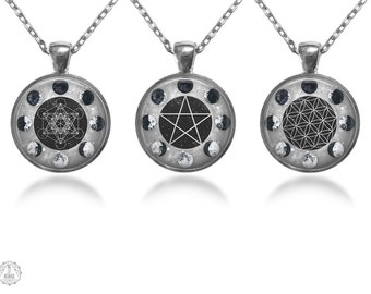 Sacred Geometry Moon Phases Pendant Necklace Set - Moon Necklace Watercolor Moon Flower of Life Metatron's Cube Pentagram Grunge Jewelry
