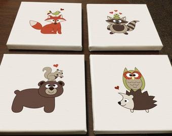 SALE: Baby Woodland Animals Canvas Prints