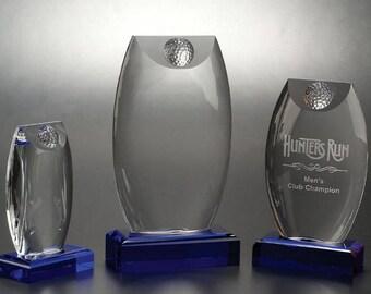 Crystal Bombay Engraved Golf Trophy by Nik Meller