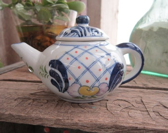 Miniature Teapot Vintage 1980's Andrea by Sadek White Blue Flowers Yellow Pink Small Size Home Kitchen Decor Collectible Serving