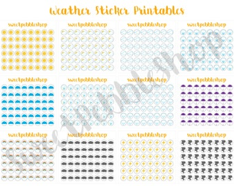 Weather Sticker Printable - 12 Designs