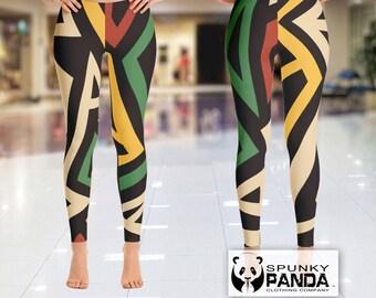 Womens Leggings, Rasta Legging, Custom Leggings, Yoga Leggings, Printed Leggings, Yoga Pants, Boho Leggings, Rasta Colors Capri, African Art